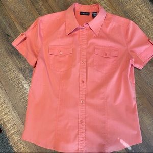 New York & Co Short Sleeve Coral Blouse Sz Large